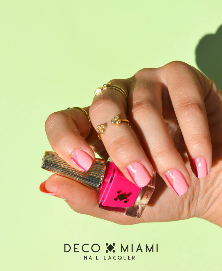 neon pink crème nail lacquer by Deco Miami CAKE nail art
