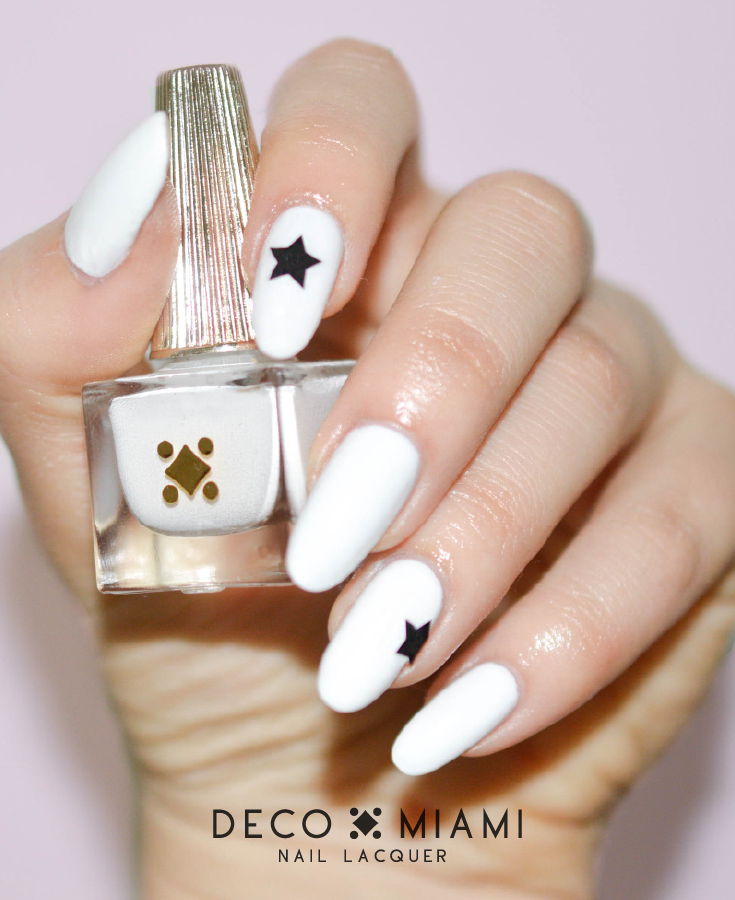 COCO - white crème nail lacquer by Deco Miami swatch with stickers