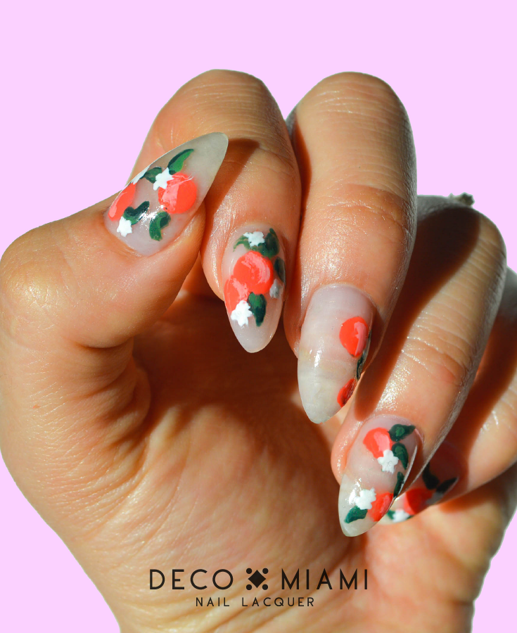 coral orange crème nail lacquer by Deco Miami orange blossom nails