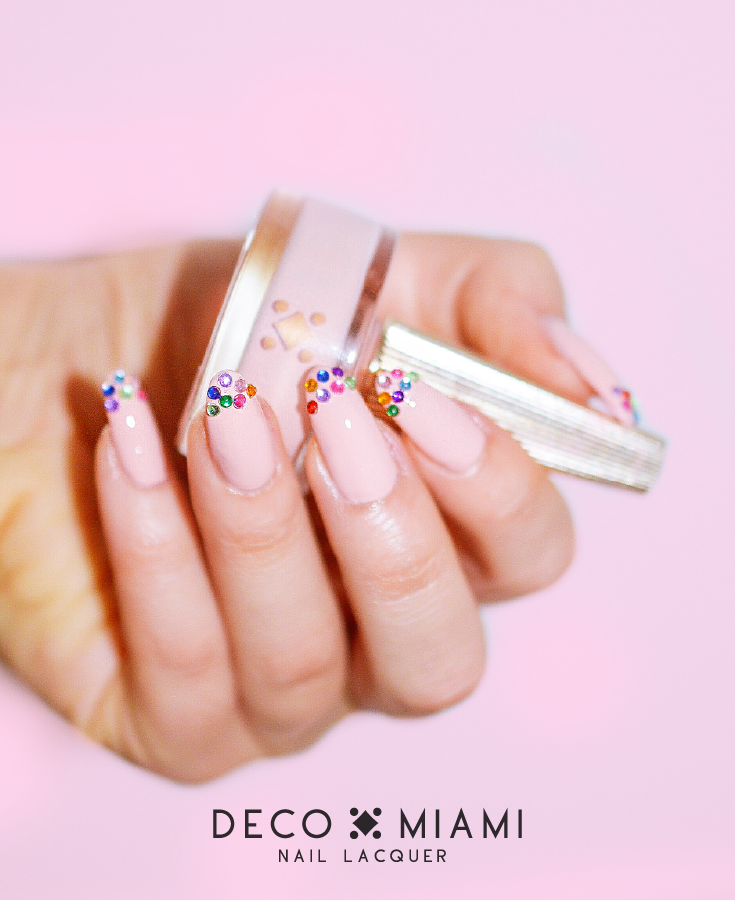 beige pink crème nail lacquer by Deco Miami with gems