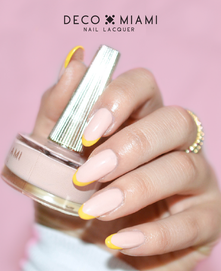 beige pink crème nail lacquer by Deco Miami nail art with yellow
