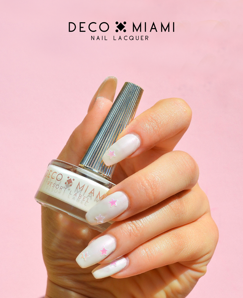 milky white and pink monochrome crème nail lacquer by Deco Miami swatch