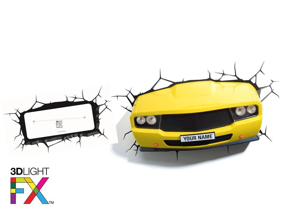 Crack Sticker - Yellow Muscle Car