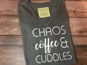 Chaos, Coffee, and Cuddles Ladies Tee