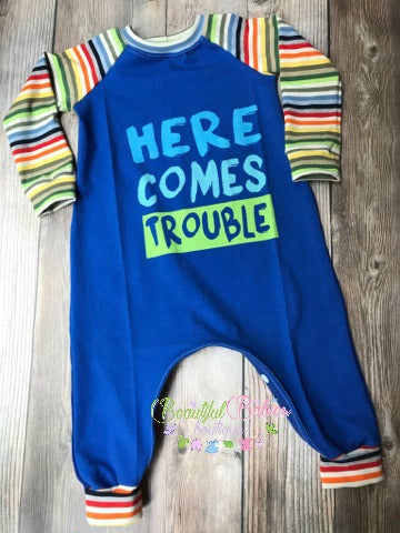 Here Comes Trouble Romper - Blue or Pink, Sleeve Options