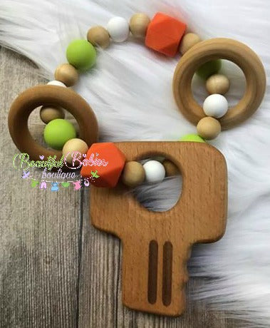 Wooden and Silicone Bead Teether - Key