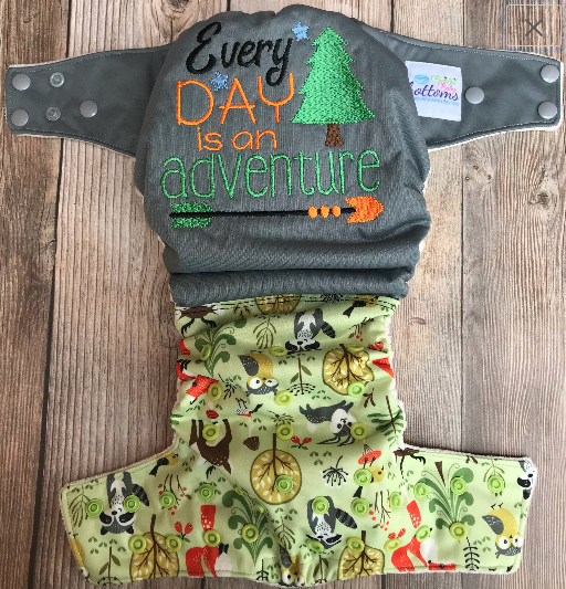 "Beautiful Baby Bottoms Cloth Diaper - ""Everyday Is An Adventure"" Embroidered"