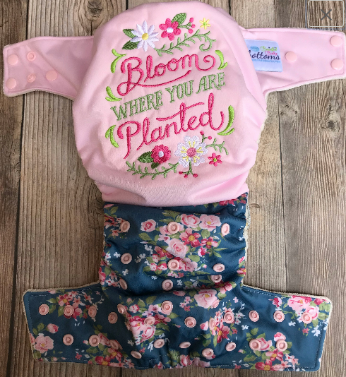 "Beautiful Baby Bottoms Cloth Diaper - ""Bloom Where You Are Planted"" Embroidered"