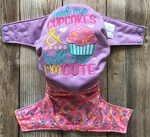 "Beautiful Baby Bottoms Cloth Diaper - ""Feed Me Cupcakes and Tell Me I'm Cute"" Embroidered"