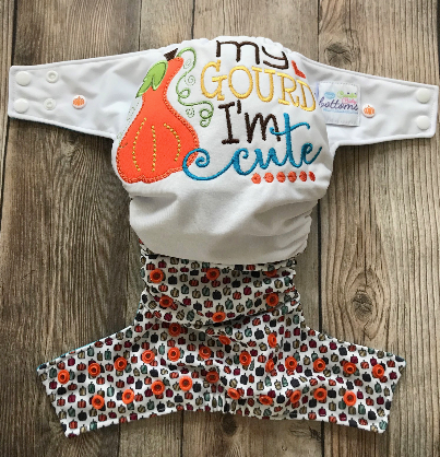 "Beautiful Baby Bottoms Cloth Diaper - ""My Gourd I'm Cute"" Embroidered"