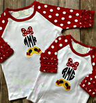 3/4 Length Ruffle Raglan Sleeve with Mouse Personalized Embroidered Monogram