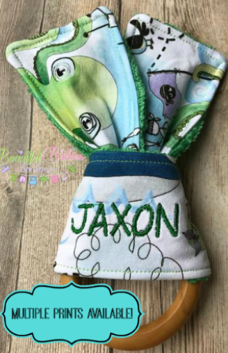 "Personalized Wooden Ring Teether with Fabric ""Ears"""