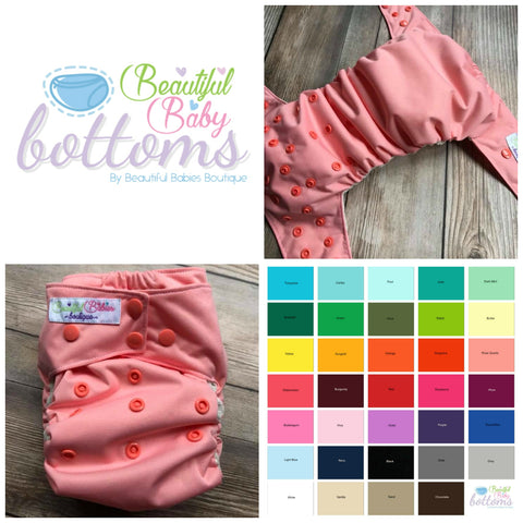 Beautiful Baby Bottoms All In One Cloth Diapers - SOLID COLORS - NB OR OS