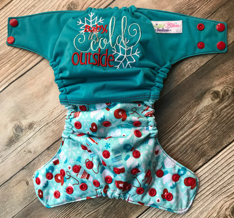 "Beautiful Baby Bottoms Cloth Diaper - ""Baby It's Cold Outside"" Embroidered"