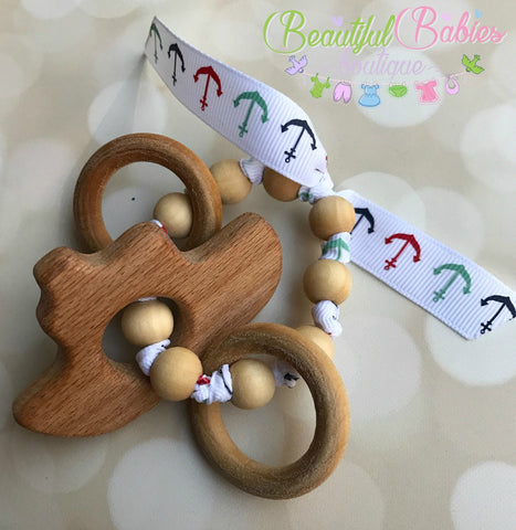Wooden Bead Teether - boat