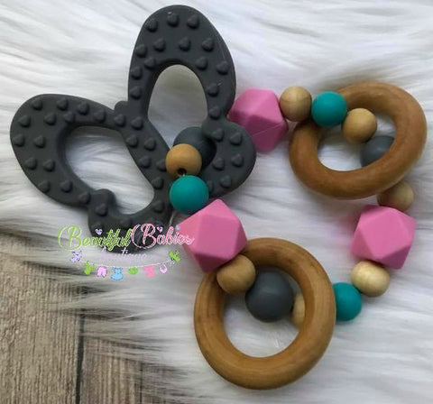 Wooden and Silicone Bead Teether - Butterfly