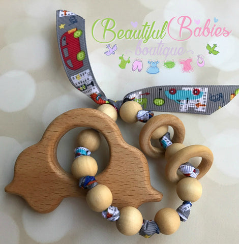 Wooden Bead Teether - car