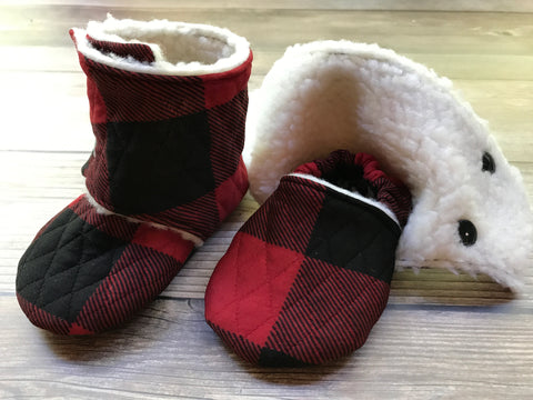 Beautiful Babies Stay on Booties - Buffalo Plaid