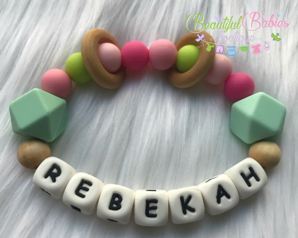 Personalized Silicone and Wooden Teether