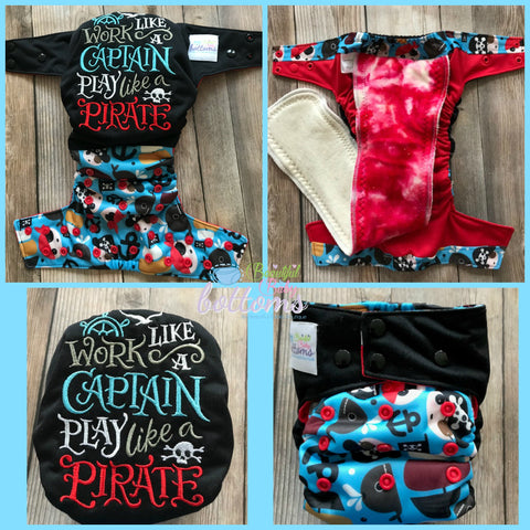 """Work Like a Captain, Play Like a Pirate"" ALL IN ONE Embroidered Cloth diaper"