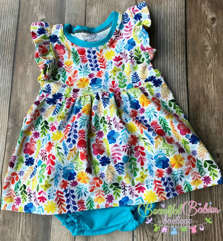 Ruffle Sleeve Dress with Matching Bum Cover - Many Prints Available