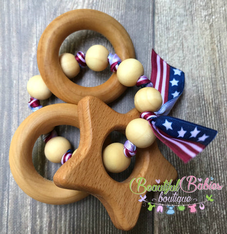Wooden Bead Teether - star