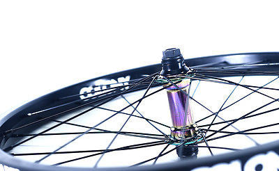 "Colony 20"" Front BMX Wheel Black Pintour Rim With Wasp Hub RAINBOW 1043gms"
