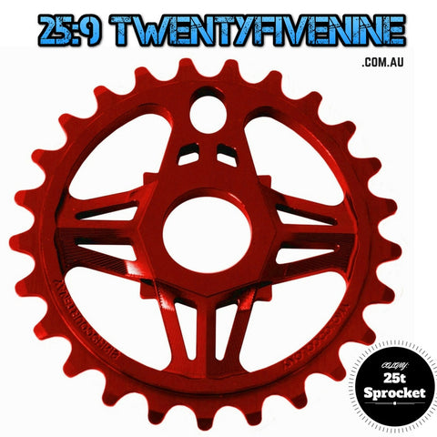 Colony 25t Chris Courtney BMX Sprocket 19mm or 22mm Adaptor Inc RED 67gms