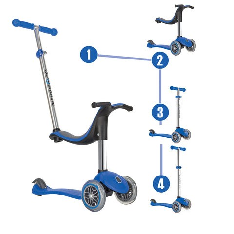 Globber 3 Wheel Scooter 4 in 1  BLUE
