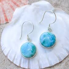 Mermaid Beach Co - Circle Larimar Drop Earrings