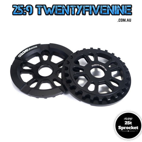 Colony 25t Menace BMX Sprocket With Built in Bash Guard BLACK 125gms