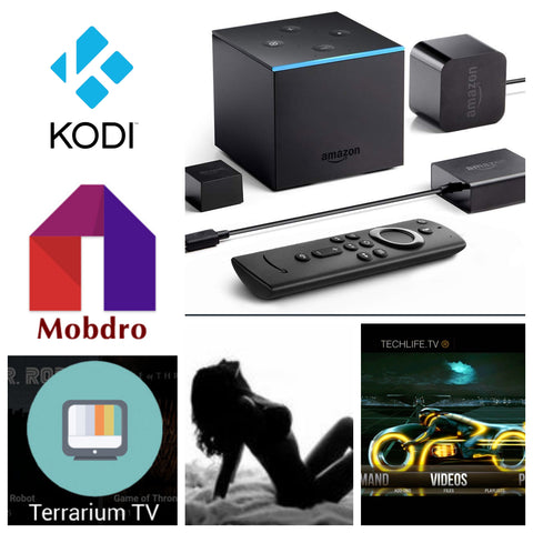New Jailbroken Amazon Fire Tv Cube with new remote, loaded w/ Alexa voice control,  Kodi, Mobdro, Terrarium tv, and 15+ Premium Apks
