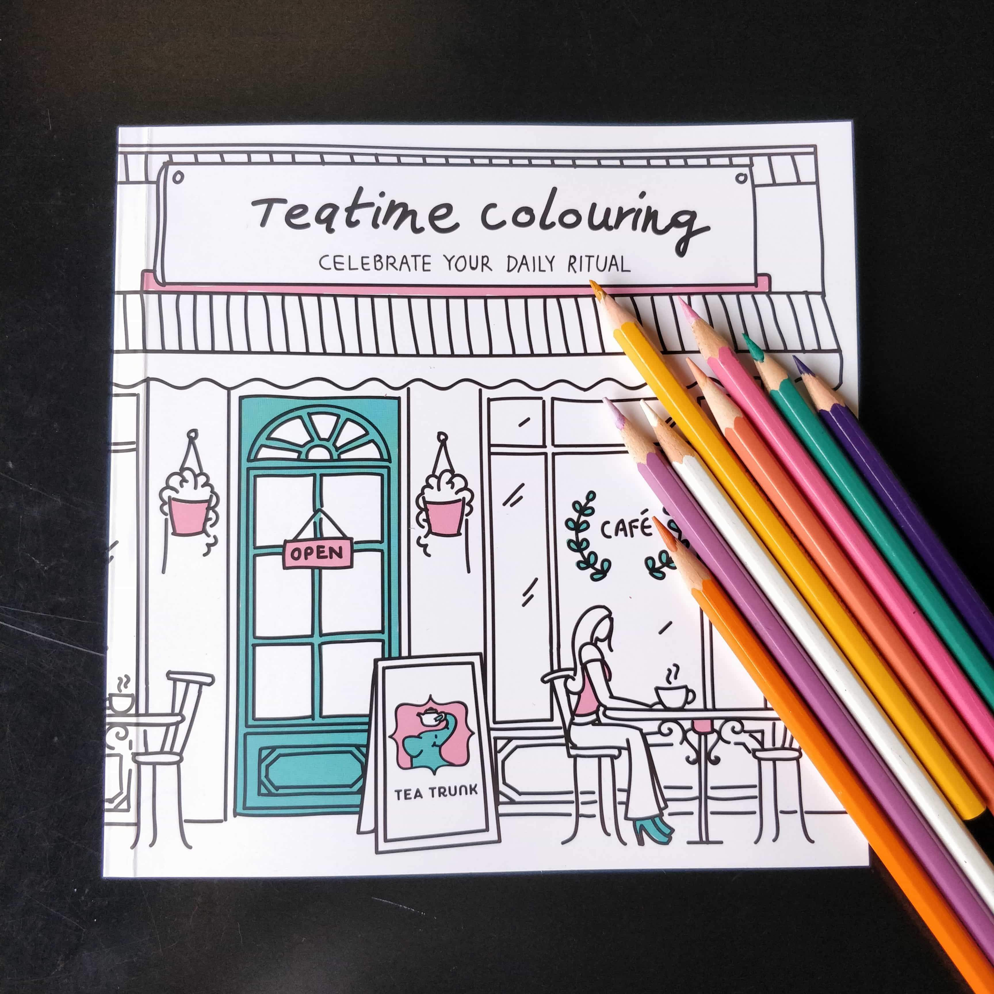 Teatime Colouring, an adult colouring book - Tea Trunk