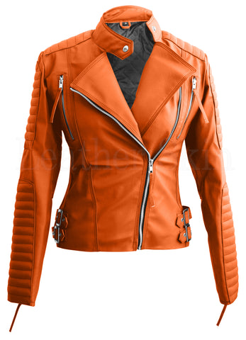 Orange Brando Women Faux Leather Jacket-Leather Skin-Ndulge In You