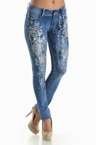 "Ndulge ""Natural Lift"" Bling Floral Print Jeans-Ndulge In You-Ndulge In You"
