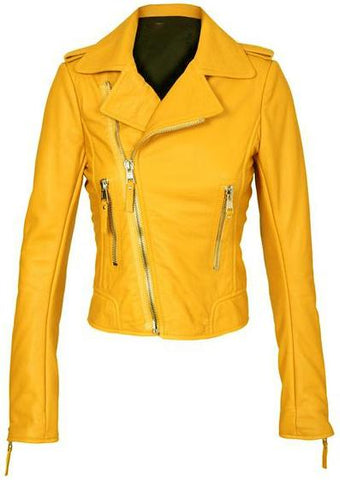 Yellow Women Brando Biker Leather Jacket-Leather Skin-Ndulge In You