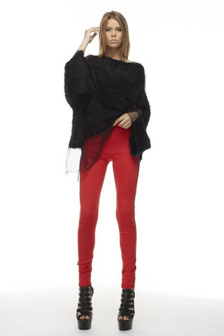 Red legging pants with side panel mesh and zippers