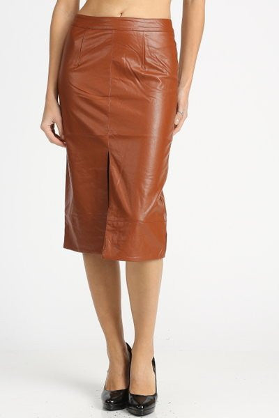 Ndulge Vegan Leather Pencil Skirt w/ Front Slit - Ndulge In You