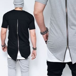 Men Cotton Zipper Tees