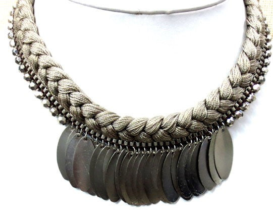 Ndulge Tika Silver/Tan Bibb Choker - Ndulge In You