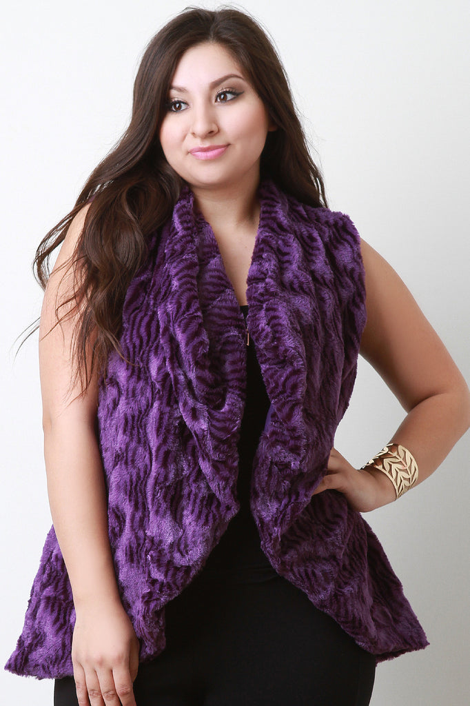 Striped Texture Faux Fur Vest-CollectiveFab-Ndulge In You