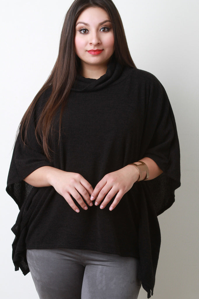 Soft Knit Cowl Neck Poncho Top - Ndulge In You