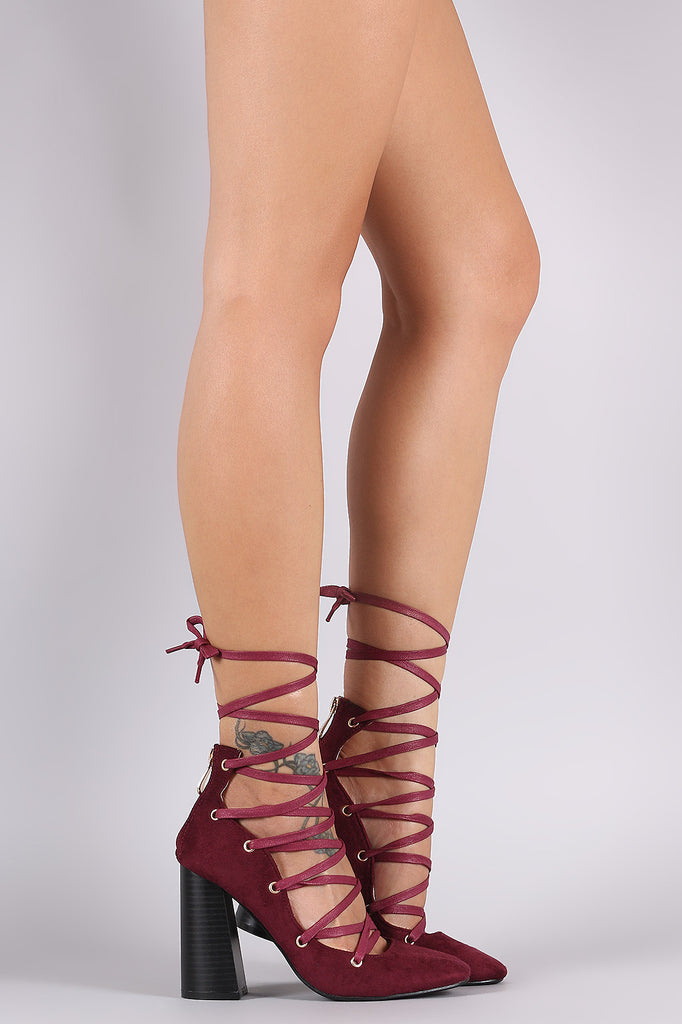 Suede Lace-Up Chunky Heeled Pump - Ndulge In You