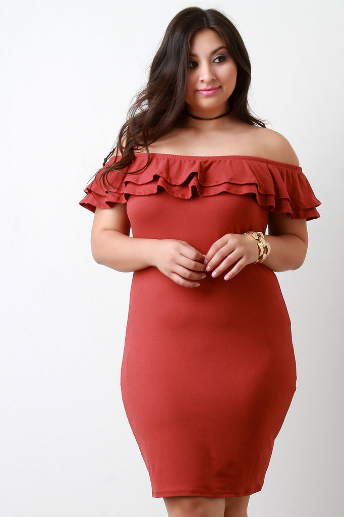Off The Shoulder Layer Ruffle Bodycon Dress - Ndulge In You