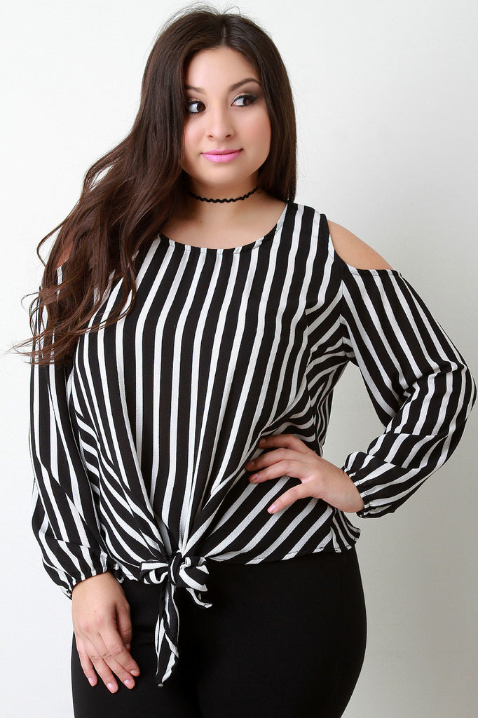 Striped Cold-Shoulder Self-Tie Hem Long Sleeve Top-CollectiveFab-Ndulge In You
