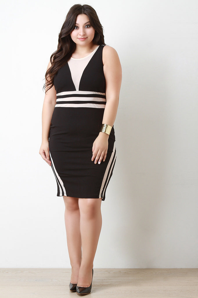 Striped Panel Mesh Bodycon Dress-CollectiveFab-Ndulge In You