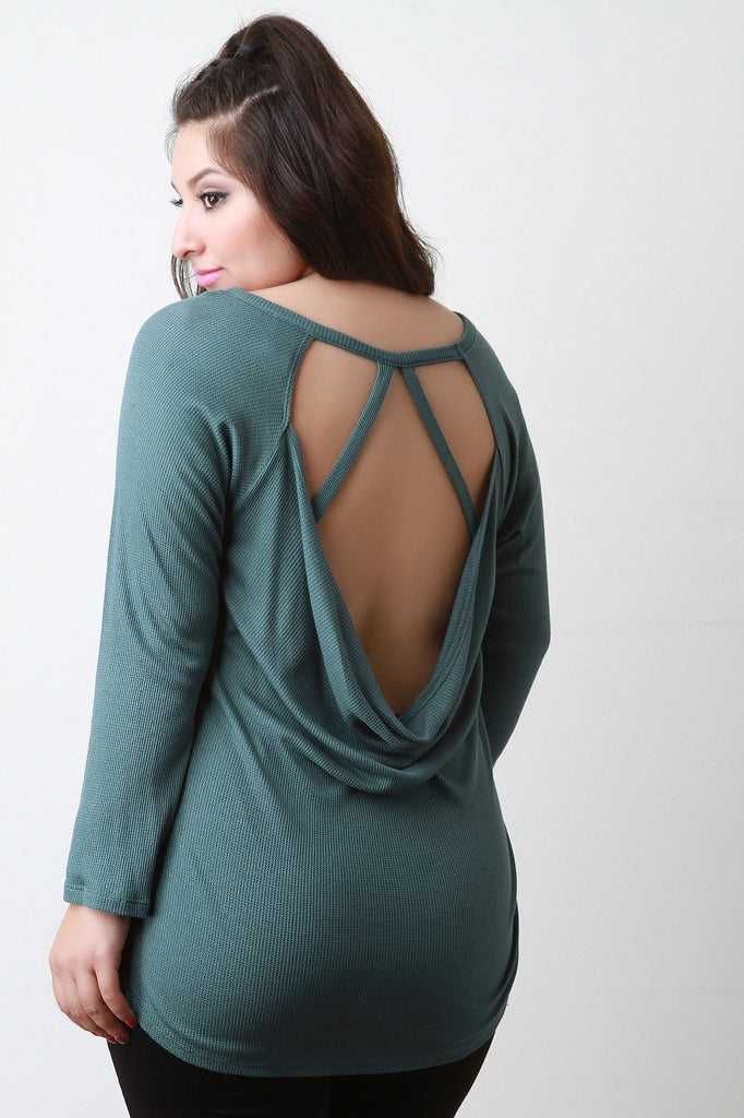 Thermal Knit Open Back Top-CollectiveFab-Ndulge In You