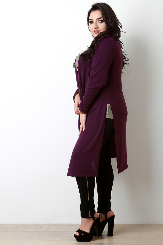 Soft Knit Side Slits Open Front Longline Cardigan-CollectiveFab-Ndulge In You