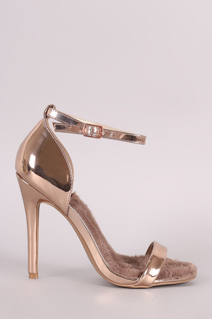 Qupid Ankle Strap Open Toe Patent Stiletto Heel - Ndulge In You