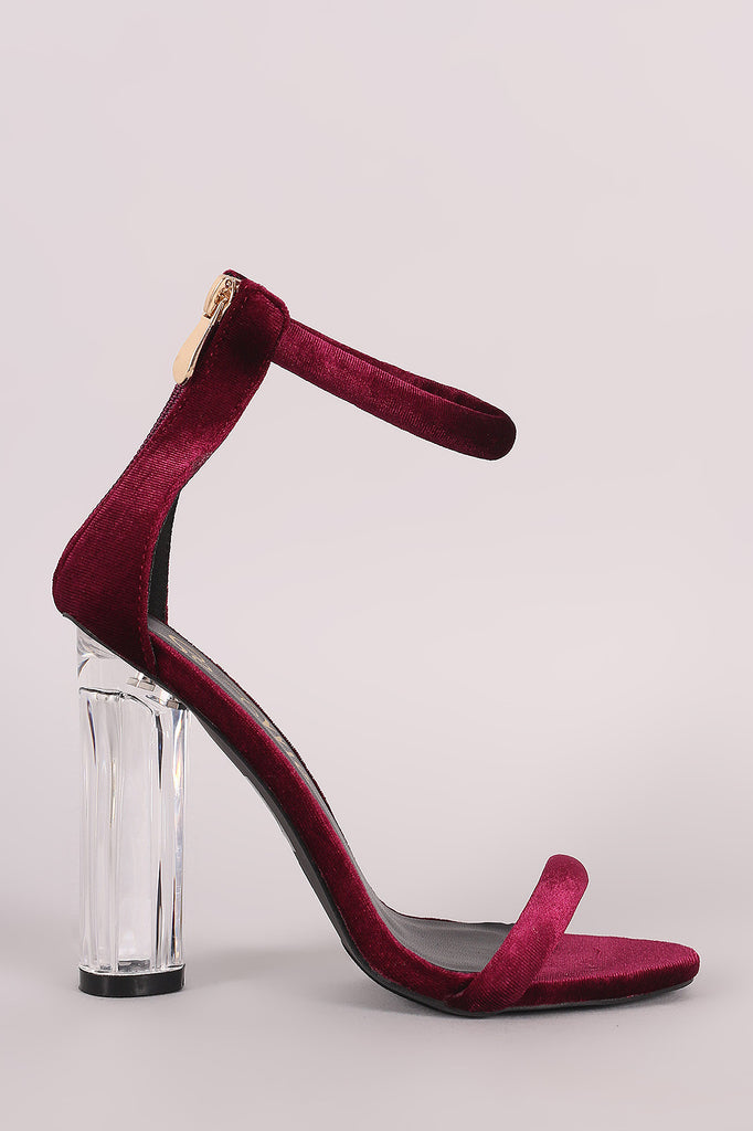 Velvet Ankle Strap Rounded Perspex Heel-CollectiveFab-Ndulge In You
